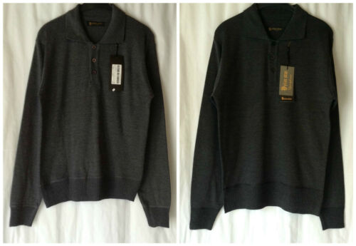 NEW MEN/'S CHARCOAL COTTON BLEND BUTTON UP COLLAR KNITTED JUMPER SWEATER *LAST1*