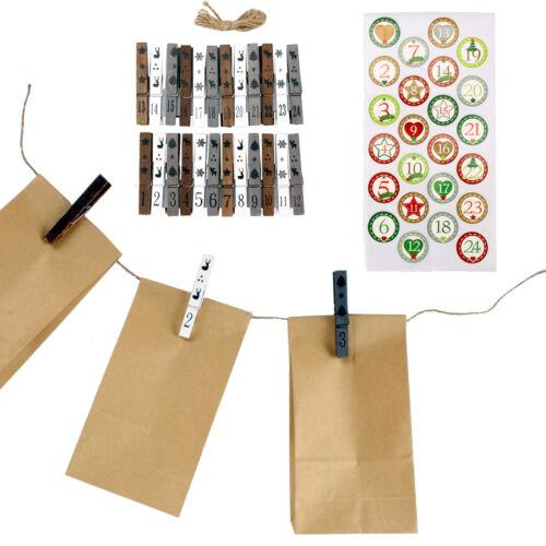 holzklammern et ficelle parenthèse se remplit Calendrier de l/'avent avec 24 pochettes Incl