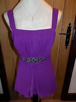 GORGEOUS M&S PER UNA PURPLE FRONT BEADED FRILLY/PLEATED EVENING TOP SIZE 14