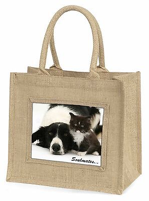 Hund+Kätzchen Soulemates Stimmung Große Natürliche Jute-einkaufstasche Ch,