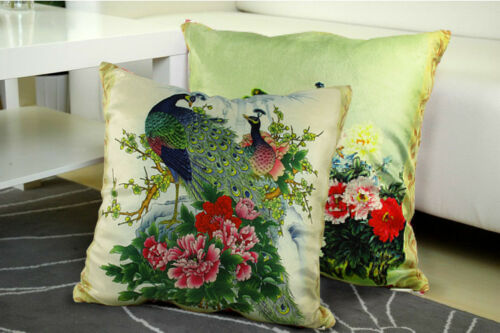 New Decorative Velvet Peacock Pillow Cushion Cover Double Sides Artwork