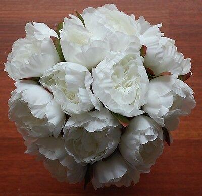 1x Silk White Cream Posy Wedding Flower Bouquet Fake Flowers Peony Peonie