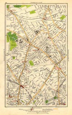 Antiques Art Prints Obliging Holloway.crouch End,tufnell Park,highgate,kentish Town,dartmouth Park 1923 Map Special Summer Sale