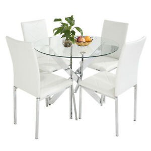 Clear Glass Round Dining Table And 4 Faux Leather Dining Chairs