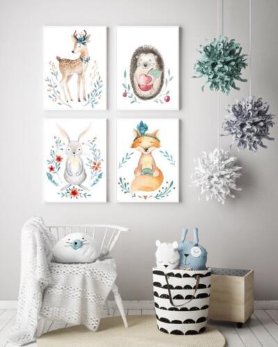 Print Nursery a4 Poster Wall Art Woodland Scandinavian Style a5 03