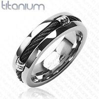 Titanium Men's 7mm Comfort Fit Black Design Wedding Band Ring Size 9-13