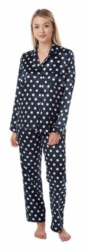 Mesdames Rouge Bleu Marine Satin Nuisette Pjs Pyjamas Set chemise de nuit grande taille 12-18