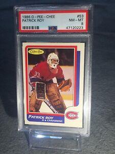 1986-Opeechee-OPC-PSA-8-Patrick-Roy-Rookie-Card-53-Montreal-Canadians