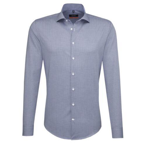 Seidensticker Uomo Camicia Manica Lunga Slim Kent Blu//Bianco a Quadri 677226.16