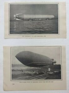 1912-Advertising-Zepplin-Dirigible-Pictures-Images-Lot-of-2-Magazine-Print-Ads