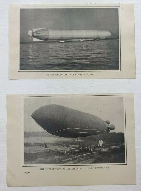 1912 Advertising Zepplin Dirigible Pictures Images Lot of 2 Magazine Print Ads