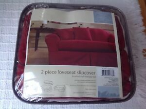 Awesome Details About 2 Piece Loveseat Slipcover Brushed Twill Marsala Red New Uwap Interior Chair Design Uwaporg