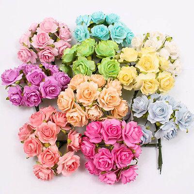 Assorted Rose Mulberry Paper Flower Craft Handmade Wedding 25mm Scrapbook A1218