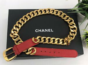 Chanel-Authentic-Vintage-90s-Chunky-Gold-Chain-Belt-Red-Leather-34-US-XS-S