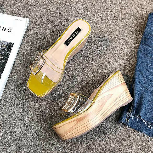 Sandale eleganti sabot zeppa ciabatte 9 giallo comodi simil pelle colorati 9829