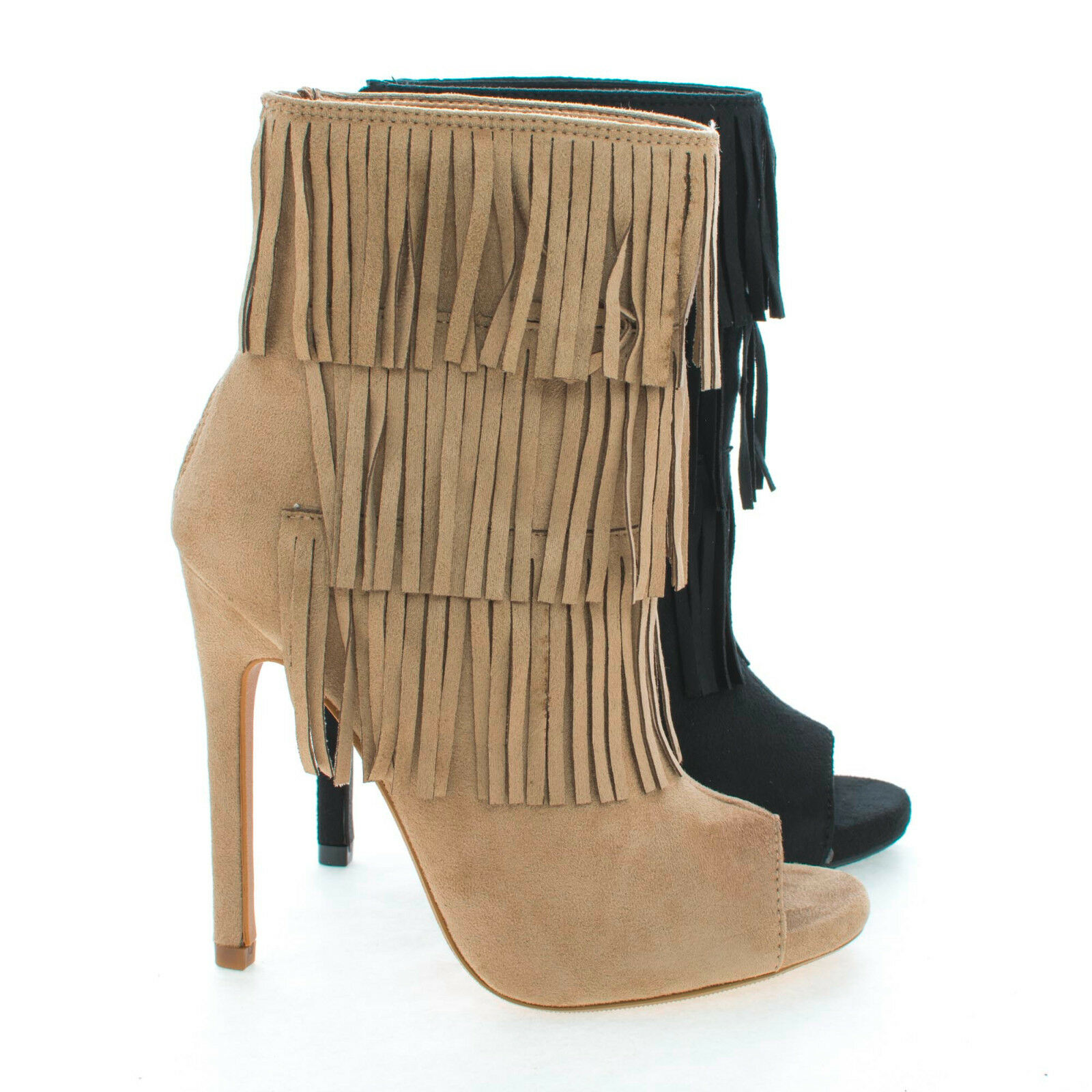 Gain Peep Toe Pleaded Fringe Zip Up Stiletto Heel Ankle Booties