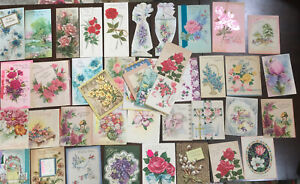 45-Vintage-Greeting-Cards-30-s-40-s-50-s-60-s-Assorted-Mostly-Flowers-Glitter