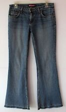 Bubblegum 30 x 32 True Vintage Herringbone Stripe Frayed Flare Jeans Vtg Size 8
