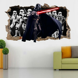 Wall Stickers Starwars Darth Vader Smashed Broken Boys Film Room