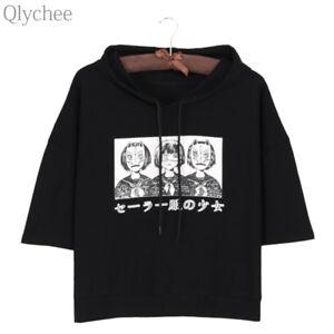 Harajuku-Style-Women-Hoodie-T-shirt-Japan-Anime-Mask-Girl-Print-T-shirt