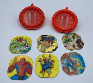 1980-039-s-Vintage-Mattel-Toys-Marvel-Secret-Wars-2-Shields-amp-6-Hologram-Slides
