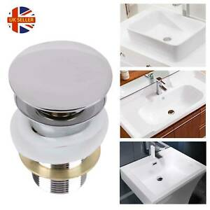 Quality-Modern-Basin-Sink-Chrome-Tap-Push-Button-Pop-Up-Waste-Plug-Slotted-UK