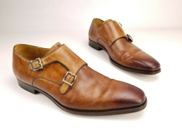 Magnanni Brown Leather Double Monk Strap Dress Shoes Mens 10.5 M MSRP $545