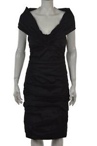 Theia Womens Dress Size 6 Black Solid Sheath Sleeveless Cocktail Above Knee