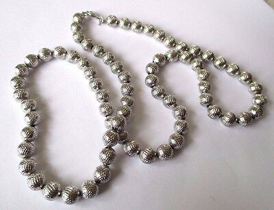 Originale Original Grand Collier De Perles Couleur Argent Brillant Bijou Vintage 543
