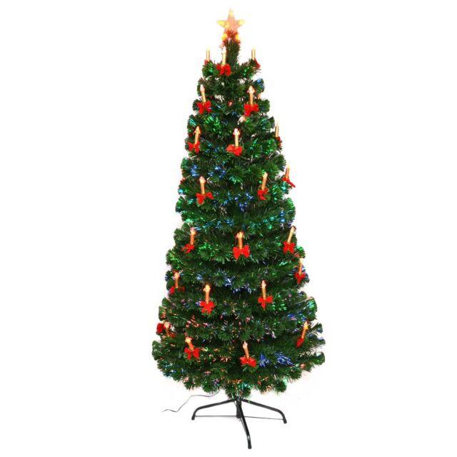 3ft LED Fibre Optic Christmas Tree Pre-Lit Xmas Decoration with Candle & Bow - 3ft LED Fibre Optic Christmas Tree Pre-lit Xmas Decoration With