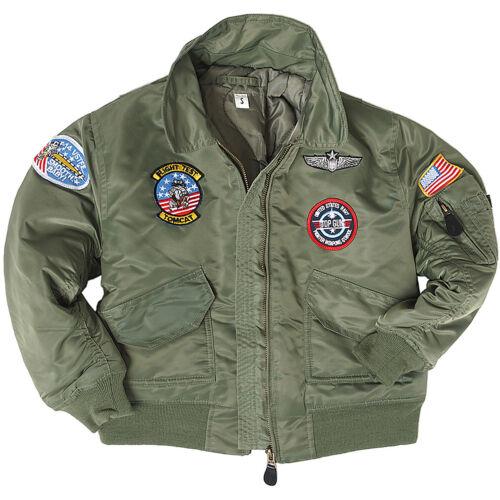 98-176 US Pilotenjacke Kids Bomberjacke Jacke Kinder CWU Fliegerjacke oliv Gr