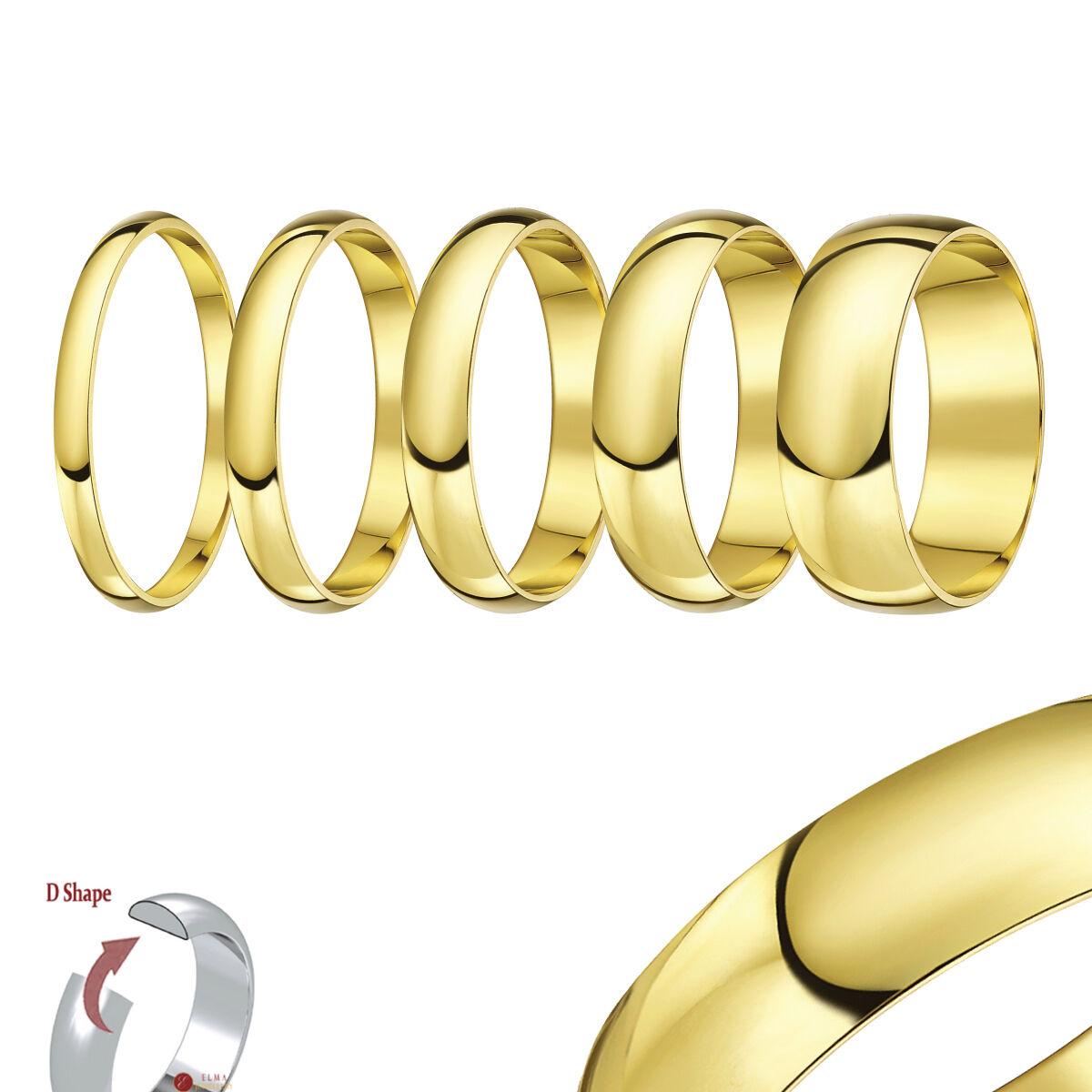 9 ct Bague Or yellow lumière en forme d Anneau mariage (solide & poinçonnée)