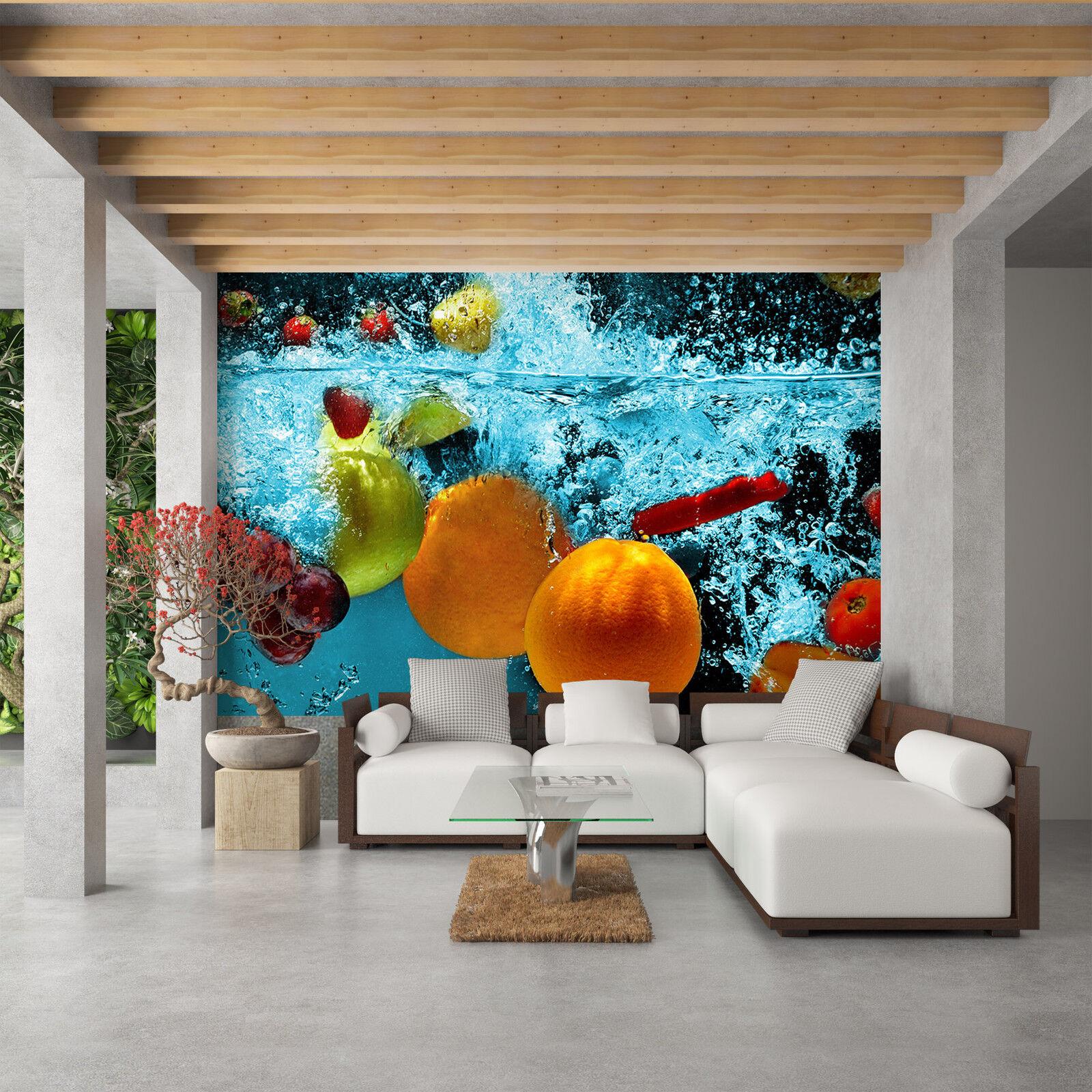 Tapete Vlies Fototapete für Küche Obst ins Wasser eintauchend modernes Design
