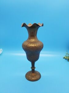 VINTAGE-ETCHED-BRASS-RUFFLED-BUD-VASE-MADE-IN-INDIA