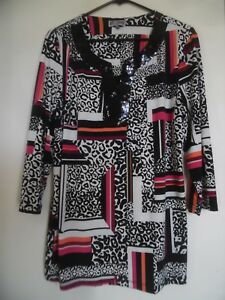JM Collection Womens Sz L  Knit Tunic Top Multi Color 3/4 Sleeve V Neck