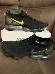 online retailer a9b27 f1674 Details about New NIKE AIR VAPORMAX FLYKNIT 2 BLACK MULTI - COLOR 942842  015 SIZE 15 METALLIC