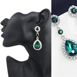 Fashion-Women-Silver-Crystal-Rhinestone-Drop-Dangle-Ear-Stud-Earrings-Jewelry