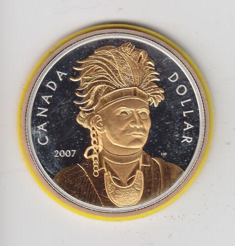 2007 Canada Proof Silver Dollar Chief Thayenda Selective Gold Plating