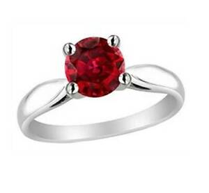 67dfa265a95 1Ct Round Cut Synt. Red Ruby Solitaire Valentines Day Ring White ...