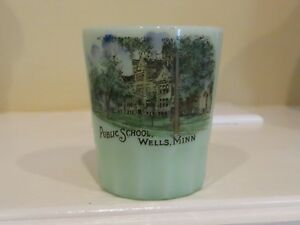 ANTIQUE-souvenir-CUSTARD-GLASS-PUBLIC-SCHOOL-WELLS-MINN-Mn-Minnesota-COLOR-VIEW