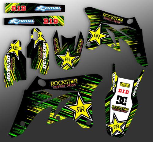 2012 2013 2014 2015 KXF 450 GRAPHICS KIT KAWASAKI ROCKSTAR YELLOW GREEN DECALS