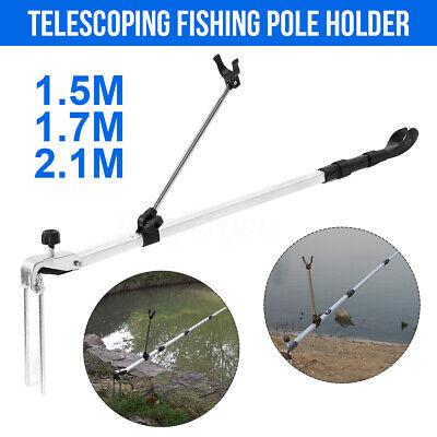 Fishing Rod Holder Pole Stand Bracket Telescopic Portable Travel 1.51.72.1m | eBay