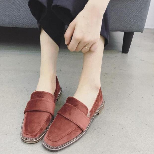 Ballerines Mocassins chaussures pour femmes Classique rouge Laine Polaire