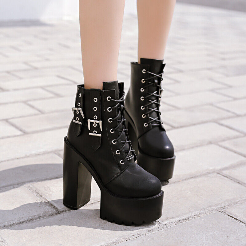 Punk Haut Top Bottines femme Platform High Block talons Lace Up bucke Chaussures