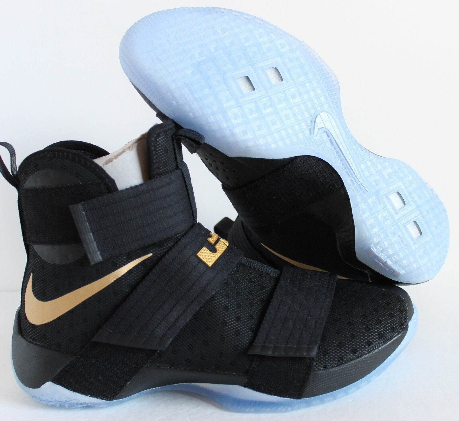 NIKE iD ZOOM LEBRON SOLDIER 10 CHAMPIONSHIP BLACK GOLD SZ 11.5 [885682-991]
