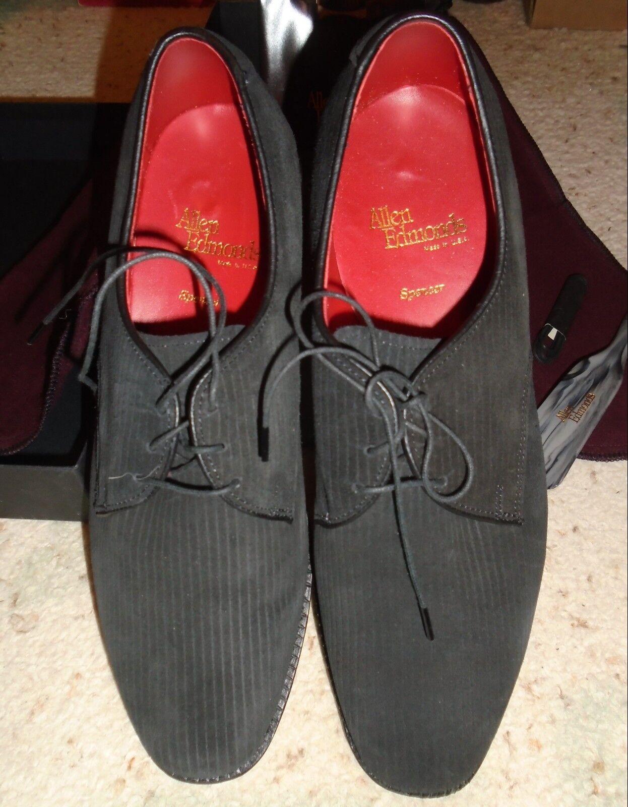 Vintage Para Hombre ALLEN EDMONDS SPENCER Negro Zapatos De Nobuk Acanalado Nuevo 8.5 D 8-1 2 D
