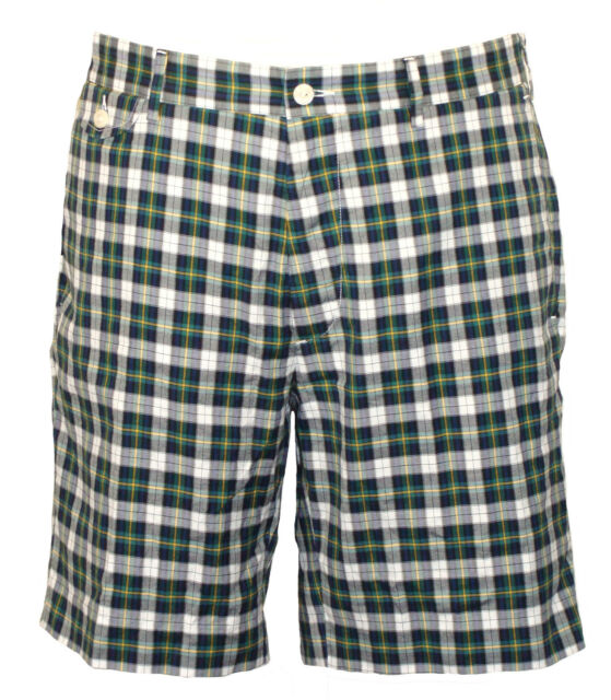 842752330a Polo Ralph Lauren Mens Shorts Plaid Slim Fit Green Navy Blue Sz 36 NEW  $79.50