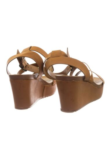Cuddle03 Vintage Stained Worn Out Platform Wedge Ankle Strap Open Toe Sandal