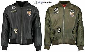Mens-MA1-Bomber-Jacket-Flight-Badges-Army-Coat-Harrington-Military-Zip-Biker-New