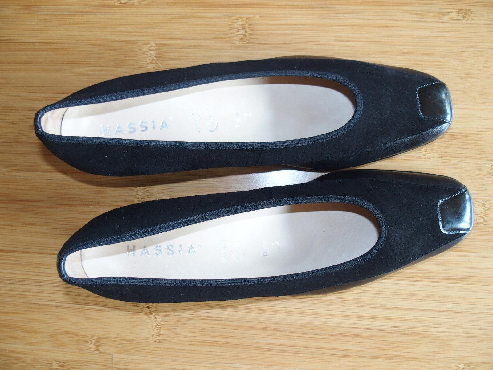 HASSIA Damenschuhe schwarz Ballerina Pumps Wildleder Leder wNEU Gr. 39 Gr. 6